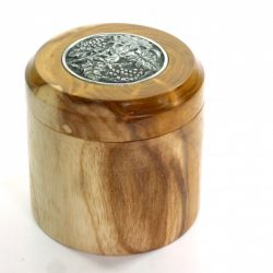 Handmade wooden keepsake pot English Mulberry decorative pewter inlay in lid