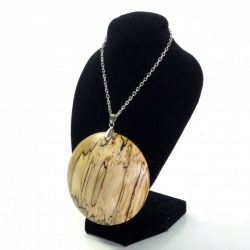 Handmade wooden pendant English Spalted Beech long silver plated chain magnetic clasp